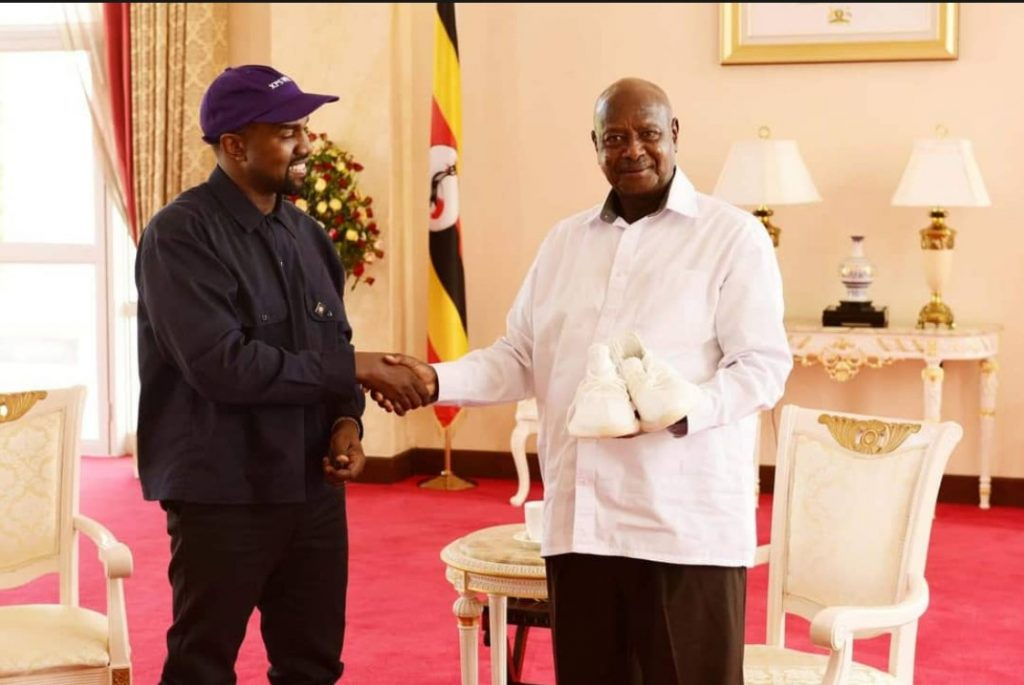 Kanye West and Kim Kardashian West meets Uganda's President, gifts him pair of Yeezy sneakers