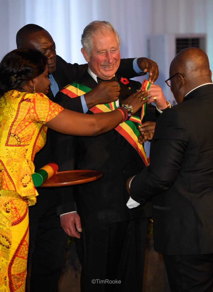 The Prince of Wales has a few problems as he is presented with the Companion of the order of the star of Ghana, honorary division, by The President