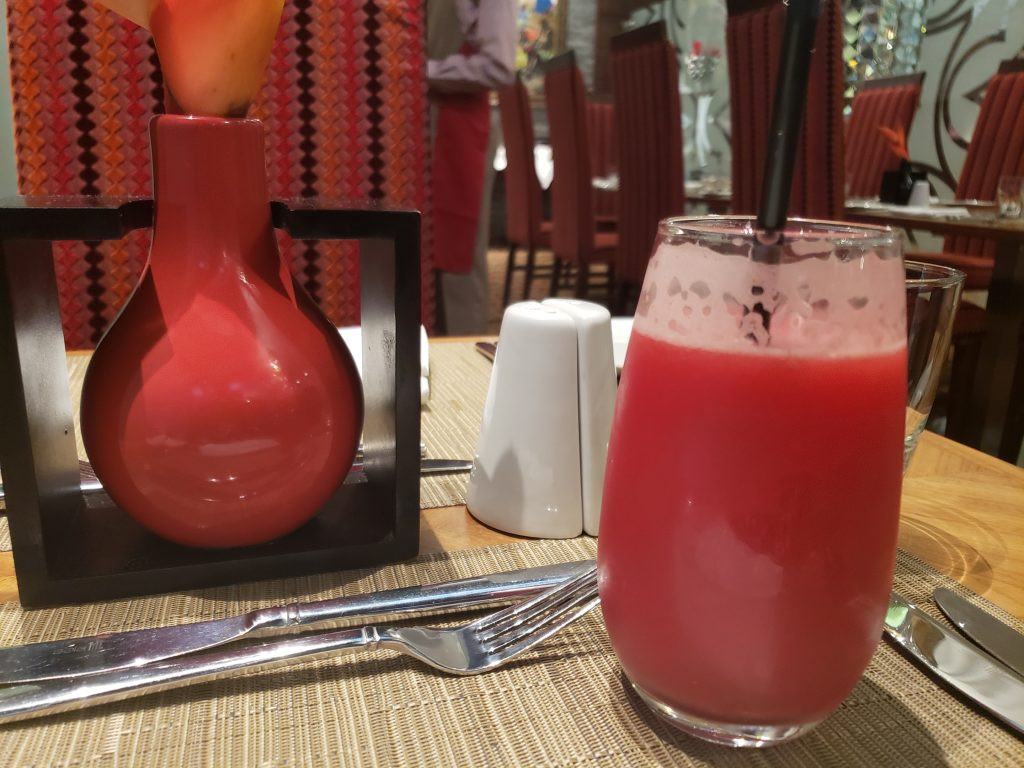 fresh watermelon juice served at Accra Marriott hotel restaurant