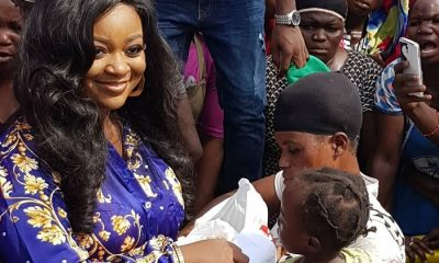 Jackie Appiah donates to porters at Agbogbloshie market, as she celebrates her birthday