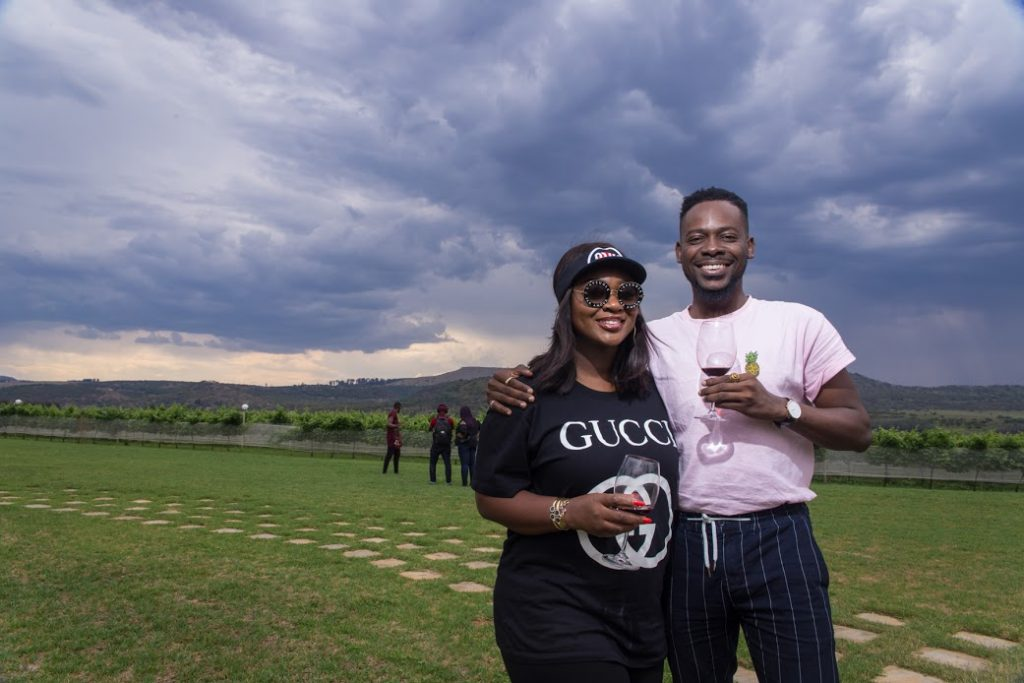 Jackie Appiah and Adekunle Gold at Cathedral Peak Wine Estate